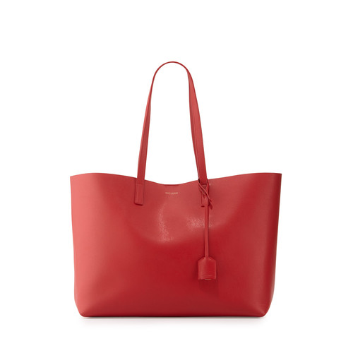 SAINT LAURENT Large Shopping Tote Bag, Red