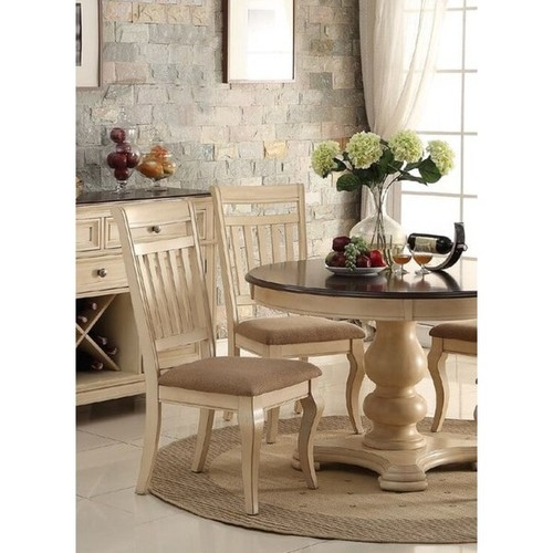 Audric Cream Wood Dining Chairs with Light Brown Upholstered Seats [option : Audric Dining Chairs (Set of 4)]