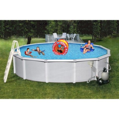 Blue Wave Samoan 21 ft. Round 52 in. Deep 8 in. Top Rail Metal Wall Swimming Pool Package