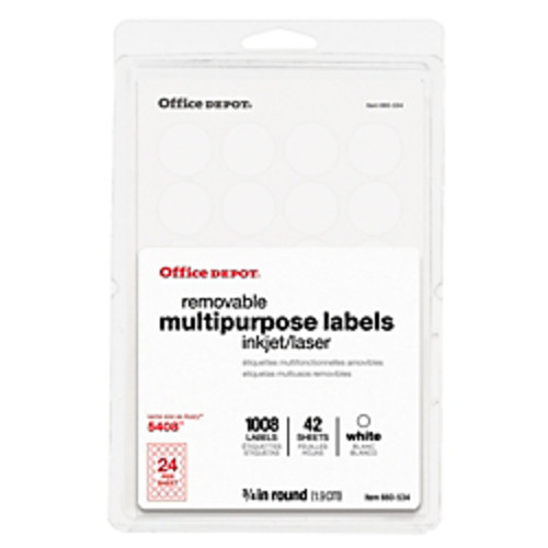 Office Depot Brand Removable Inkjet/Laser Multipurpose Round Labels, 3/4
