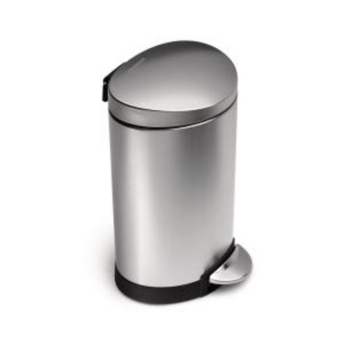 simplehuman 6-Liter Fingerprint-Proof Brushed Stainless Steel Semi-Round Step-On Trash Can