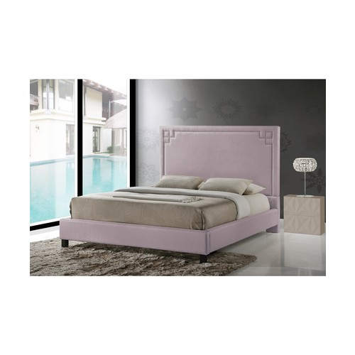 Heidi Modern and Contemporary Beige Fabric Upholstered Queen Size Platform Bed