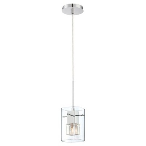 Aida 1 Light Pendant, Chrome with Clear Crystal Glass