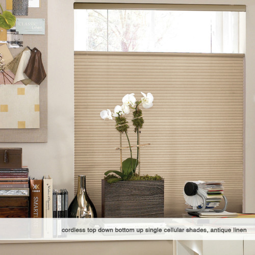 First Rate Blinds Leaf Gold 22 to 22.5-inch Wide Cordless Top Down Bottom Up Cellular Shades [option : 22 x 40 - 40 Inches]
