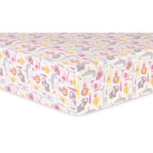 Trend Lab Animal Safari Deluxe Flannel Fitted Crib Sheet in Pink