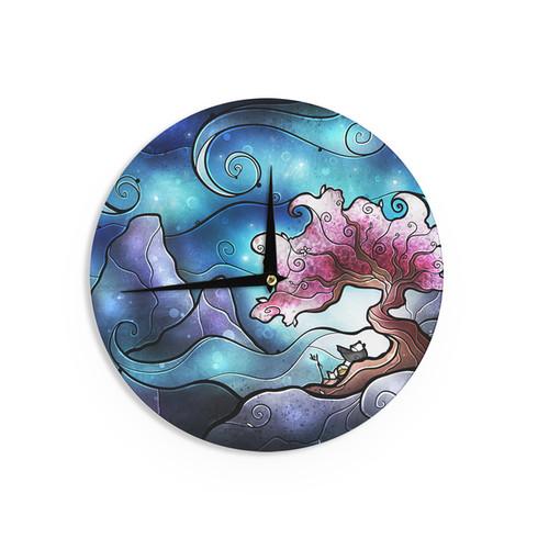 KESS InHouse Mandie Manzano 'You Must Believe' Blue Purple Wall Clock