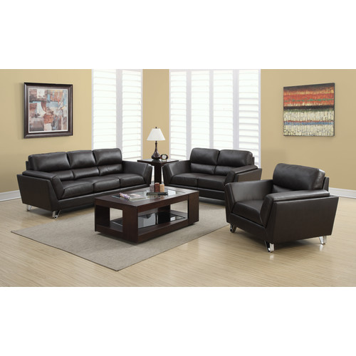 Monarch Specialties CHAIR - DARK BROWN BONDED LEATHER / MATCH