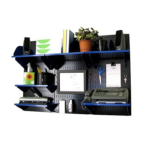 Wall Control Office Wall Mount Desk Storage and Organization Kit, Black/Blue [Black/Blue]