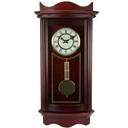 Bedford Clock Collection Weathered Cherry Wood Wall Clock with Pendulum