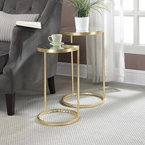 Convenience Concepts 227435 Gold Coast Round Nesting Mirror End Tables