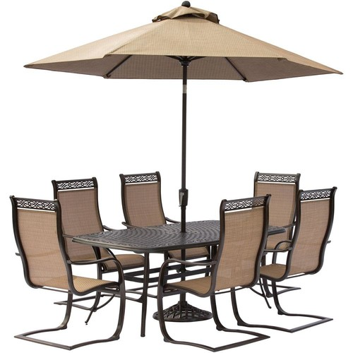 Hanover Manor 7-Piece Aluminum Rectangular Outdoor Dining Set with Spring Sling Chairs, Cast-Top Table, Umbrella and Chairs