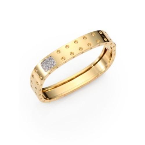 Pois Moi Diamond and 18K Yellow Gold Two-Row Bangle Bracelet