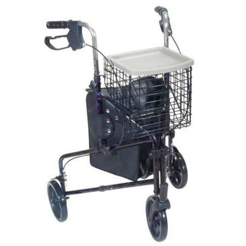Drive Medical 3 Wheel Rollator Walker with Basket Tray and Pouch Blue
