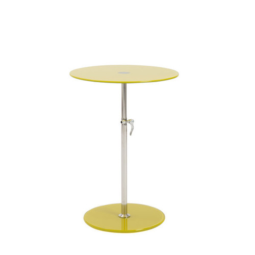 Euro Style Radinka Yellow Glass Stainless Steel Round Side Table