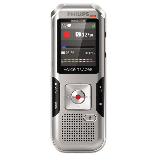 Philips Voice Tracer 4000 Digital Recorder, 4 GB, Silver Shadow/Chrome (PSPDVT4000)