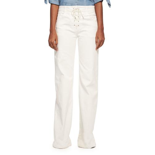 CHLOE Lace-Up Wide-Leg Denim Jeans, White