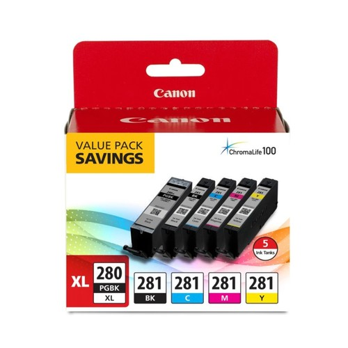 Canon PGI-280XL/CLI-281 High-Yield Black/Cyan/Magenta/Yellow Ink Tanks, Pack Of 5