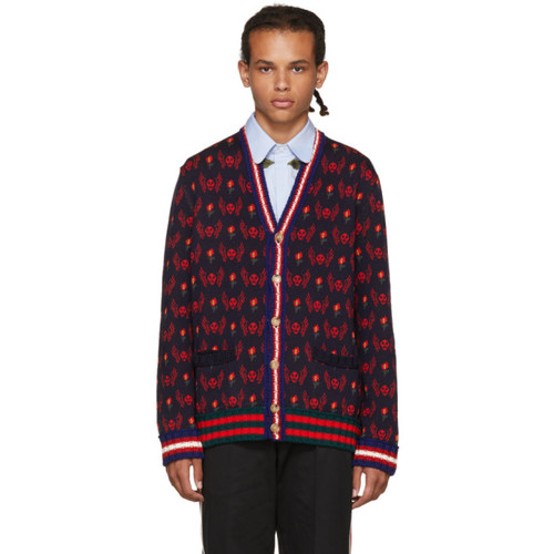 GUCCI Navy & Red Skull Cardigan
