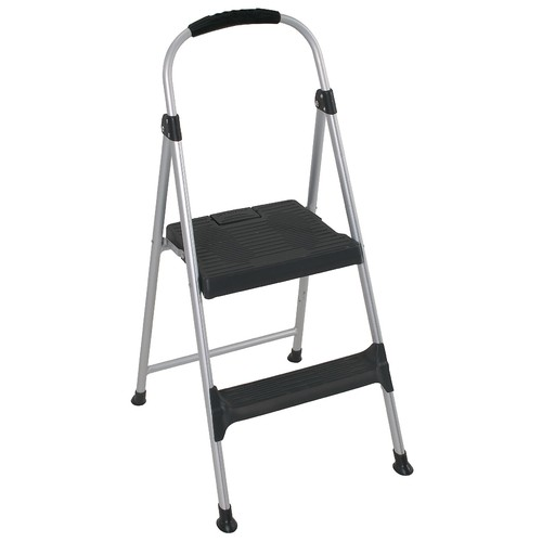 Cosco Home and Office Products Signature Step Stool Two-Step Aluminum with Plastic Steps