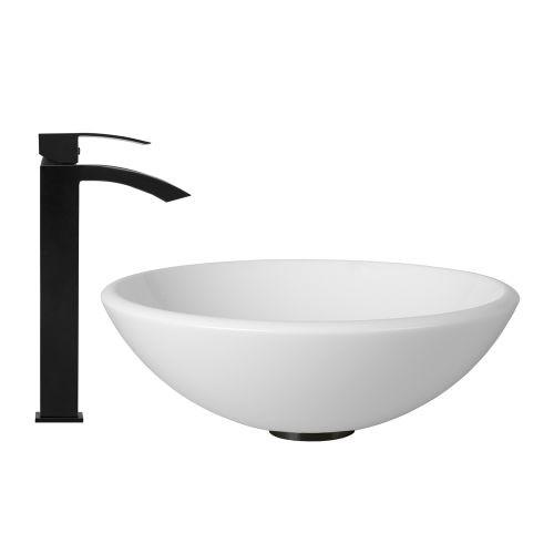 VIGO Glass Vessel Sink in White Phoenix Stone and Duris Faucet Set in Matte Black