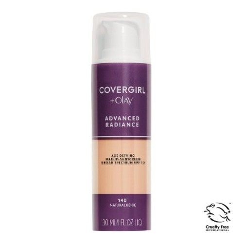 CoverGirl Advanced Radiance Age-Defying SPF 10 Foundation, # 140 Natural Beige, 1 Ounce [# 140 Natural Beige]