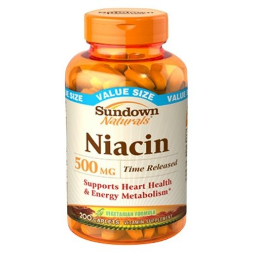 Sundown Naturals Niacin 500 mg Time Release Caplets 200 ea (Pack of 2)