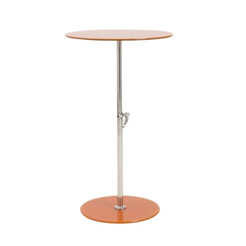 Euro Style Radinka Orange Glass and Stainless Steel Base Round Side Table