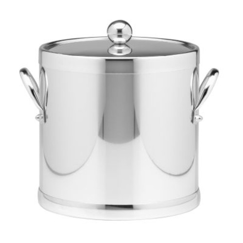 Kraftware Americano 3 Qt. Polished Chrome Ice Bucket and Lid, Metal Side Handles