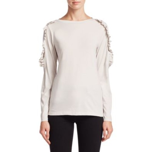 BURBERRY Long Sleeve Fringed Top