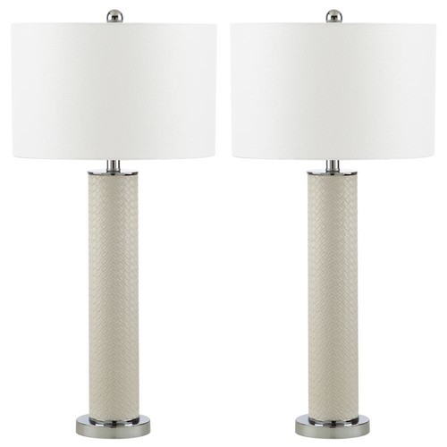 Safavieh Ollie 31.5 in. Cream Faux Woven Leather Table Lamp (Set of 2)