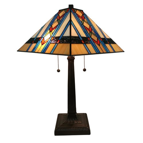 Amora Lighting 22 in. Multicolored Tiffany Style Mission Table Lamp