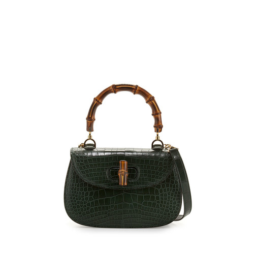 GUCCI Bamboo Classic Small Crocodile Bag, Emerald Green