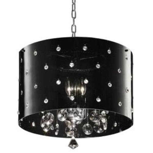 ORE International 10 in. 3-Light Chrome Star Ceiling Crystal Chandelier