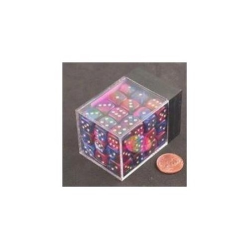 Chessex Manufacturing 26828 D6 Cube Gemini Set Of 36 Dice, 12 mm - Blue & Purple With Gold Numbering