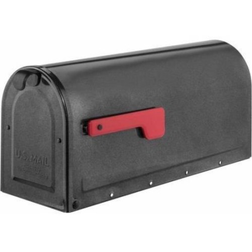 Architectural Mailboxes 7600P MB1 Post Mount Mailbox Pewter with Red Flag MB1 Post Mount Mailbox, Medium