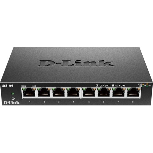 D-Link 8 Port Gigabit Unmanaged Metal Desktop Switch (DGS-108)