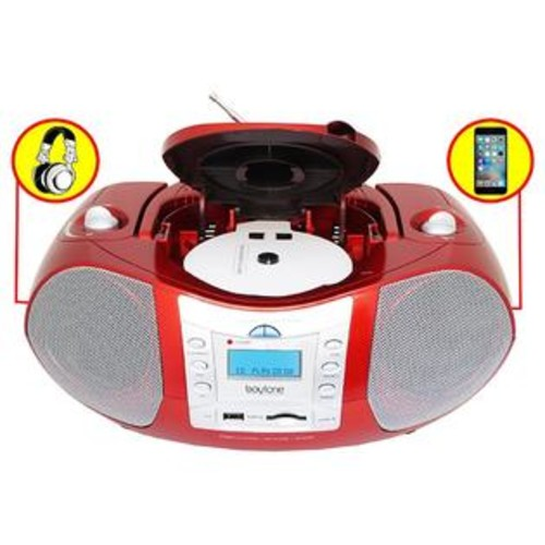 Boytone BT-6R CD Boombox Red Metallic color Edition Portable Music System with CD Player & USB/SD/MMC Slot, Digital FM R
