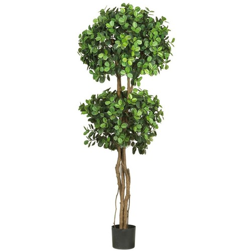 Nearly Natural Eucalyptus Double Ball Topiary Silk Tree 5.5-Feet Green 5248