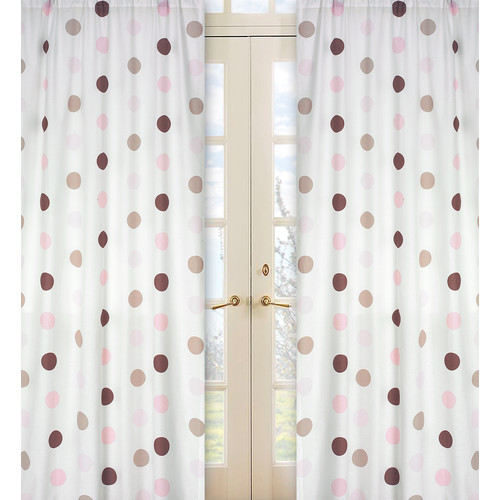 Sweet Jojo Designs Mod Dots Pink Collection Window Panels
