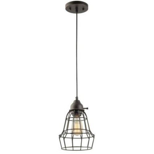 Globe Electric 1-Light 7 in. Oil Rubbed Bronze and Black Vintage Hanging Caged Pendant