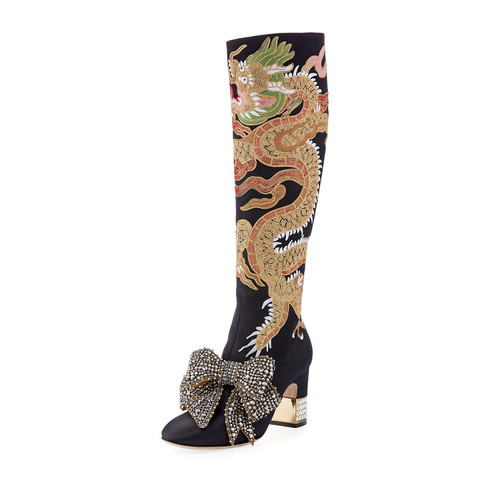 GUCCI Candy Dragon Embroidered Block-Heel Knee Boot