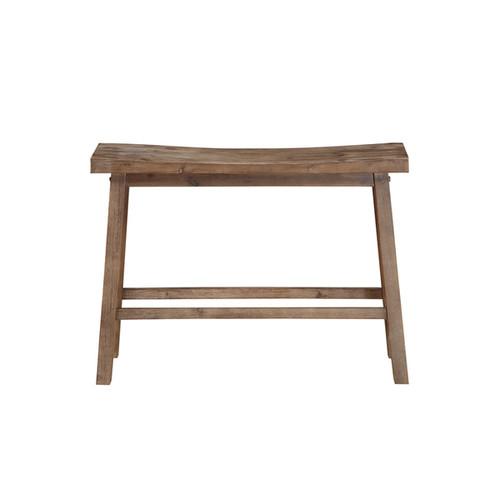 Sonoma Grey Wood Saddle Dining Bench