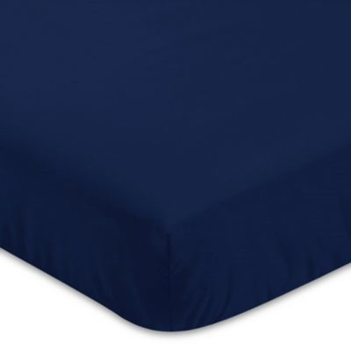 Sweet Jojo Designs Woodland Deer Fitted Crib Sheet in Solid Navy