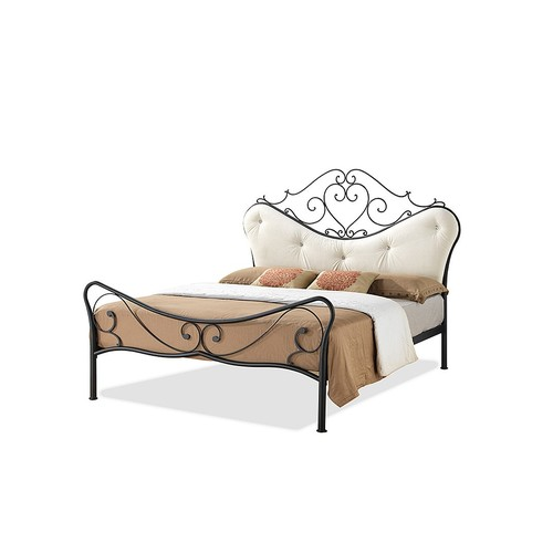 Alanna Queen Size Shabby Chic Metal Platform Bed With Beige Tufted Headboard