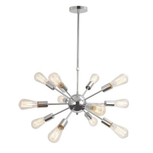Unitary Vintage Metal Hanging Ceiling 12-Light Sputnik Chandelier; Chrome