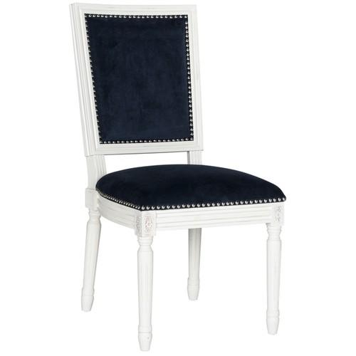 Safavieh Old World Dining Buchanan Navy Velvet Rect Dining Chairs (Set of 2)