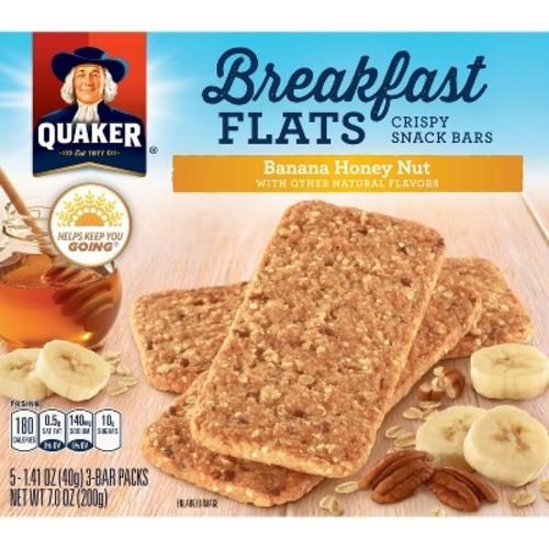 Quaker Breakfast Flats Breakfast Bars, Banana Honey Nut, 5 Count