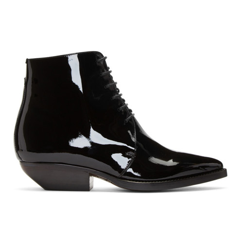 SAINT LAURENT Black Patent Theo Boots