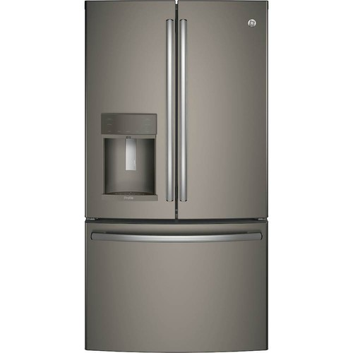 GE - Profile Series 22.2 Cu. Ft. French Door Counter-Depth Refrigerator - Slate