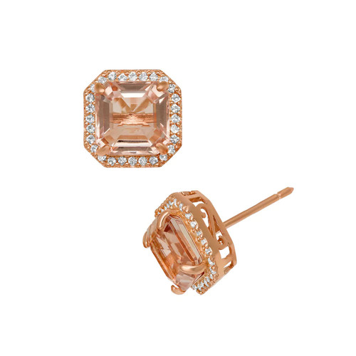 Lab-Created Pink Sapphire 14K Rose Gold Over Silver Stud Earrings - JCPenney